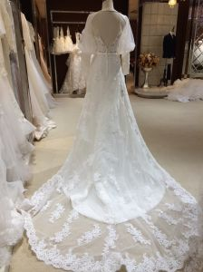 A Line Long Sleeve Backless Halter Wedding Dress pictures & photos