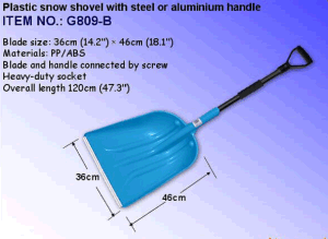 Plastic Snow Shovel with Steel or Aluminum Handle G809 pictures & photos