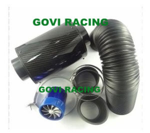 3in Real Carbon Air Filter with Plastic Flexible Pipe 76mm Rubber Reuducer Universal pictures & photos