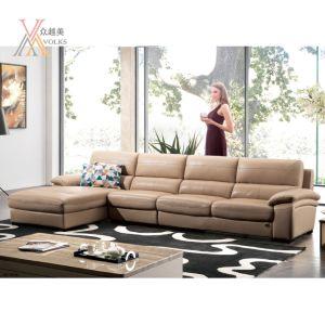 Top Grain Khaki Leather Sofa with Corner (1623B)