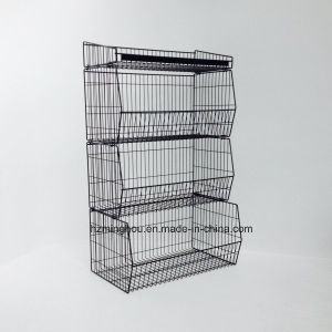 Medium Duty Stackable Baskets Metal Wire Display Rack pictures & photos