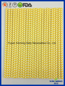 Baby Party Decoration Yellow Chevron Strip Paper Straw pictures & photos