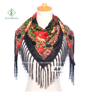 New Fashion Women Printed Square Scarf Spring/Winter Shawl with Tassel pictures & photos