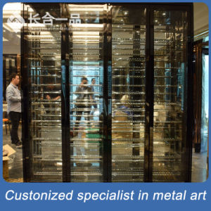 Customized Stainless Steel Back Titanium Wine Display Cabinet/ Wine Cellar pictures & photos