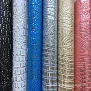 Peach Silver PVC Faux Crocodile Leather pictures & photos
