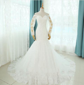 White Plus Size Beading Mermaid Long Wedding Dress pictures & photos