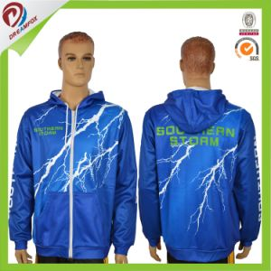 Sublimated Men′s Long Short Sleeve Hoodie with Custom Lightning Design pictures & photos