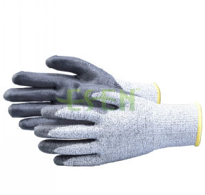 Cut Resistant Gloves Level 5 Protection with Polyurethane Palm Coated pictures & photos