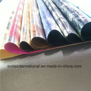 Digital Printing PU Shining Artificial Leather for Shoes, Handbags pictures & photos