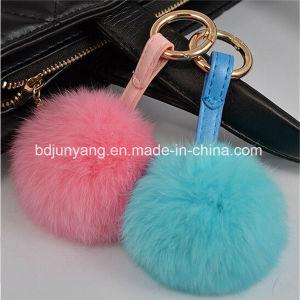 Shop Online Rabbit Fur Pompoms Key Ring pictures & photos