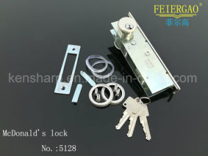 5128 Aluminum Sliding Door Lock with Brass Cylinder 3keys pictures & photos
