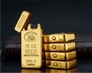 USB Rechargeable Gold Bar Windproof Electronic Arc Lighter pictures & photos