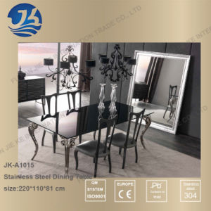 Popular Hot Design Stainless Steel Dining Table with Chair Set pictures & photos