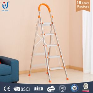 5-Step Multi-Function Household Folding Stainless Steel Ladder with En131 Certicifate pictures & photos