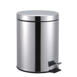 Fireproof Round 12L Polished Foot Pedal Stainless Steel Waste Bin pictures & photos