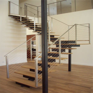 Modern Steel Stringer Straight Staircase with Cable / Wire Railing pictures & photos