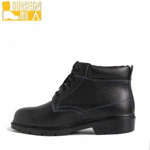 Black Leather Military Ankle Boots pictures & photos
