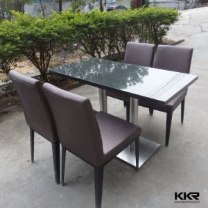 High Glossy Black Solid Surface Top Dining Table Set with 4 Seat pictures & photos