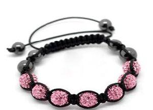 "Pink Pave Rhinestone Hematite Beads Braiding Adjustable Bracelet. Fits Shamballa 21cm-25cm (8""-10"") (B16351)"