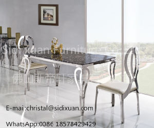 Popular Metal Glass Top Stainless Steel Dining Table for Home Furniture pictures & photos