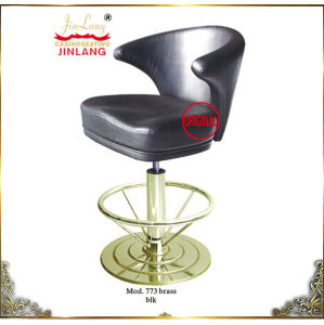 Bar Chairs Mod 773 Brass Footrest, Blk Leather (No 773 brass, blk)