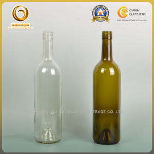 Screw Cap Clear and Green Bordeaux Glass Bottle (002) pictures & photos