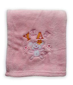 Embrodiery Coral Fleece Baby Blanket (HR02BB044) pictures & photos