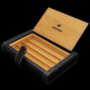 Cohiba Black Leather Cedar Travel Cigar Case Holder Humidor (ES-EB-023) pictures & photos
