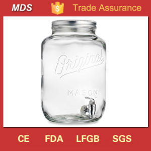 Customize Glass Decanter with Tap/2 Gallon Mason Jar Beverage Dispenser pictures & photos