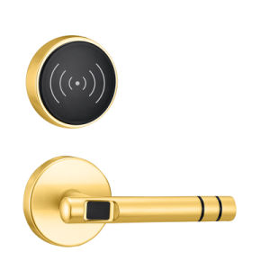 Electronic Keyless RFID Card Lock with Smart Fingerprint Lock Plated in Gold pictures & photos
