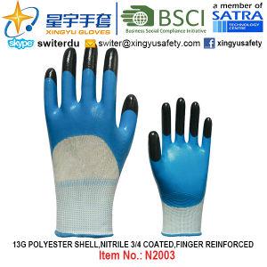 13G Polyester Shell Nitrile 3/4 Coated, Finger Reinforced Gloves (N2003) with CE, En388, En420, Work Gloves pictures & photos