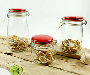Glass Jar with Red Ceramic Lid Glassware of Glass Container pictures & photos