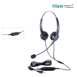 Binaural Noise Canceling Microphone Call Center Headset with USB Plug