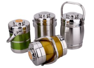 Colorful Stainless Steel Double Wall Heat Preservation Pot & Lunchbox (SN-003) pictures & photos