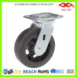 125mm Black Rubber Swivel Plate with Side Brake Castor (P701-42D125X50Z) pictures & photos