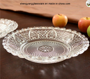 3 PC Set Food Grade Transparency Embossment Glass Plate Tableware pictures & photos