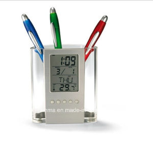 Transparent Plastic Pen Holder with Calendar pictures & photos