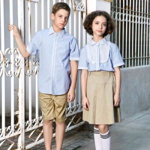 Customized School Uniform Blue Strip Shirts Wholesale pictures & photos