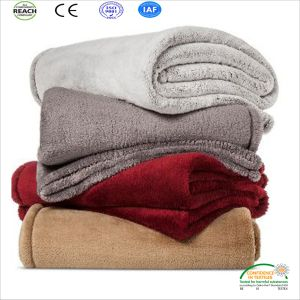 Camel Color Coral Fleece Bed Blanket OEM Customer Made pictures & photos