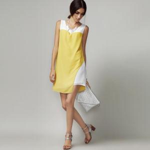 Hot Sale Sleeveless 100% Chiffon Summer Stitching Dress pictures & photos