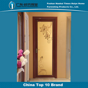 Cheap Mirror Flower Decoration Red Frame Aluminium Casement Door pictures & photos