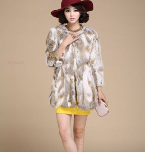 2015 Fashion Style Slim Rabbit Fur Coat for Lady Qx-Cc3 pictures & photos