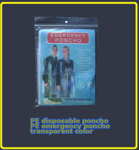 Transparent Unicolor Emergency Poncho/Raincoat (LY-PR-004) pictures & photos