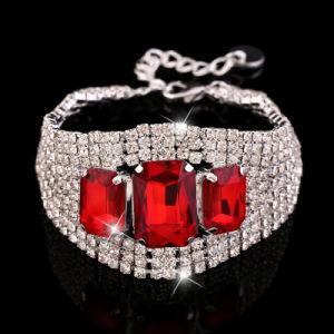 Imitation Stainless Steel Jewelry Red Crystal Bracelet