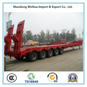 150t Heavy Duty Low Bed Semi Trailer with Hydraulic Gooseneck pictures & photos