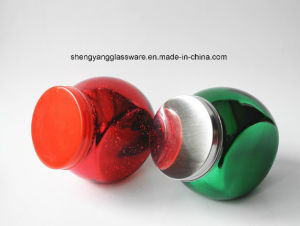 Spray Electroplate Colors Small Decorative Glass Spice Jar with Metal Lid pictures & photos