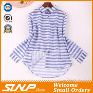 Good Quliaty Cotton Fashion Stripe T- Shirt with Buttons pictures & photos