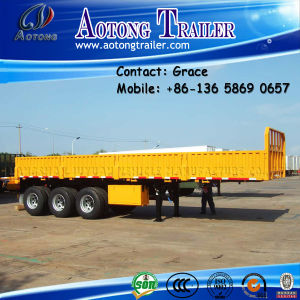 3axle 40FT 60ton Flatbed with Side Wall, Open Side Board Cargo Semi Trailer, Sidewall Semi Trailer, Wall Side Semi Trailer, Side Wall Open Semi Trailer for Sale pictures & photos