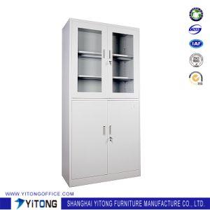 4-Door 2-Glass Door Metal Storage Cabinet / Office Use Steel File Cabinet pictures & photos