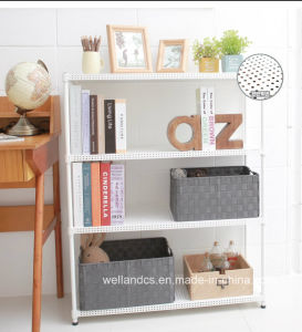 Adjustable 3 Tiers Powder Coating Perforated Metal Book Shelving for Home pictures & photos